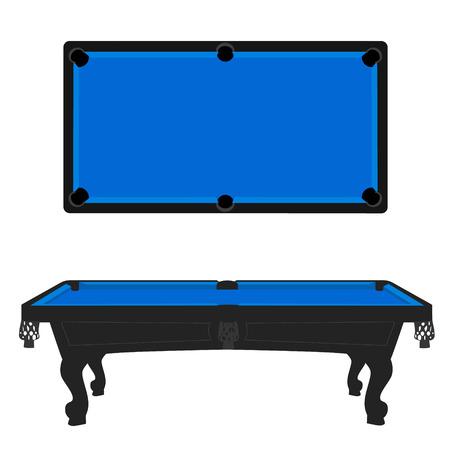 Vector illustratie retro, vintage pooltafel met blauwe doek top en zijaanzicht. Lege biljarttafel Vector Illustratie