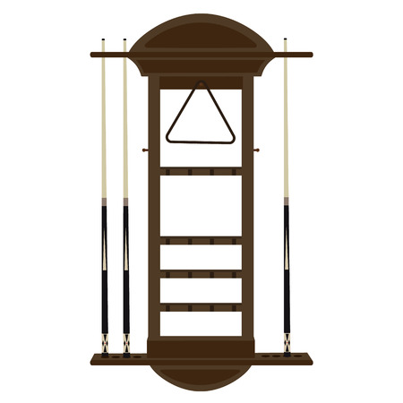 pool game: Vector illustration wooden wall cue rack for billiard, pool game, Cue or stick, triangle and ball