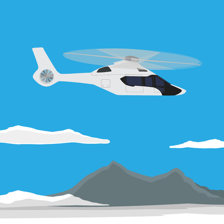 transposition: Vector illustration white, luxury, realistic helicopter flying in the blue sky with mountain landscape