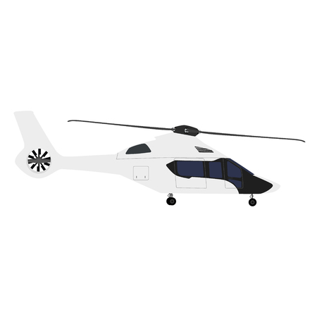 transposition: Vector illustration white, luxury realistic helicopter flying in the sky Illustration