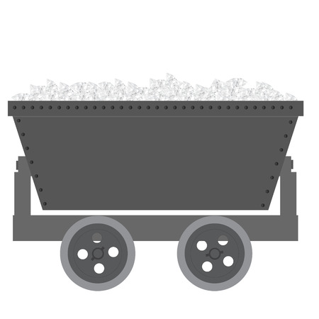 ore: Vector illustration full of diamonds trolley mine for resource delivery. Wagon for coal, mineral, ore. Minecart