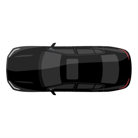 Vector illustratie zwarte sedan auto bovenaanzicht. Generic auto. Sportauto