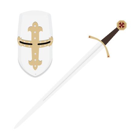 crusader: Vector illustration medieval templar knight helmet and sword. Metallic crusader armor. Medieval weapon