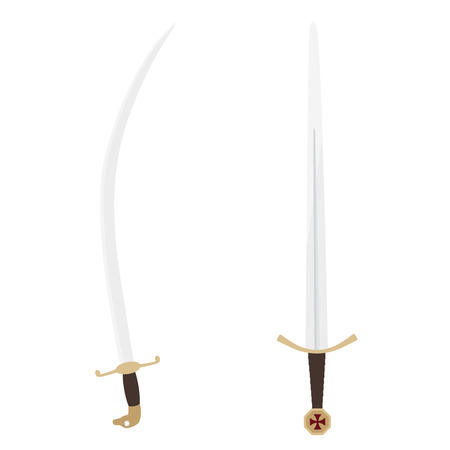 Vector illustration the accolade sword of knights templar and saracen sabre sword. Medieval weapon Illustration