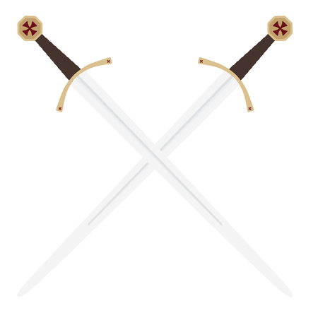 crossed swords: Vector illustration two crossed  swords of knights templar . Medieval weapon