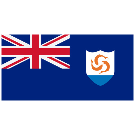 anguilla: Vector illustration Anguilla flag vector icon. Rectangular national flag of Anguilla. Anguilla flag button