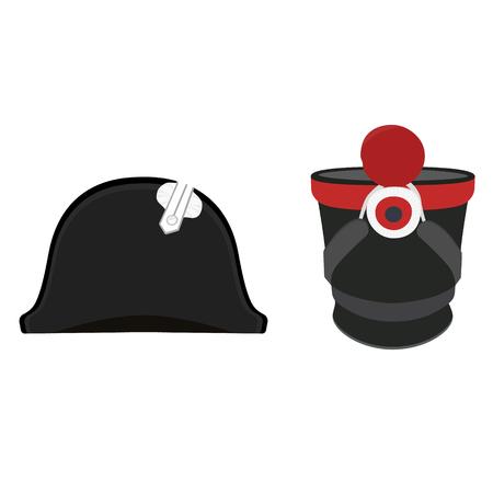 cocked hat: Vector illustration black Napoleon Bonaparte hat and cylindrical military cap. Infantry shako hat. General bicorne hat Illustration