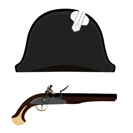 napoleon: Vector illustration black Napoleon Bonaparte hat and flintlock musket gun. General bicorne hat