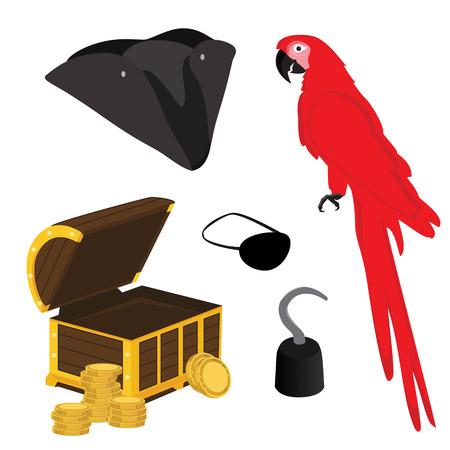 pirata: Ilustración del vector del icono del pirata establece con gancho de pirata, el sombrero del pirata, remiendo del ojo del pirata, loro rojo y el cofre del tesoro