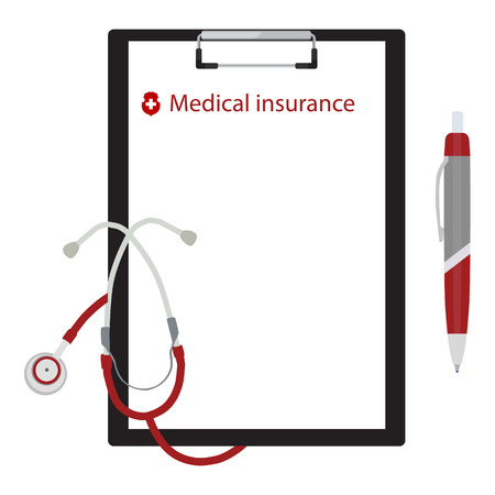 medical clipboard: Vector illustration health, medical insurance concept design. Clipboard and stethoscope. Illustration