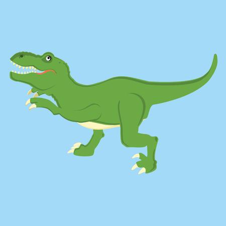 trex: Vector illustration of a mean tyrannosaurs rex t rex dinosaur. Dino. Cute cartoon  green dinosaur on blue background