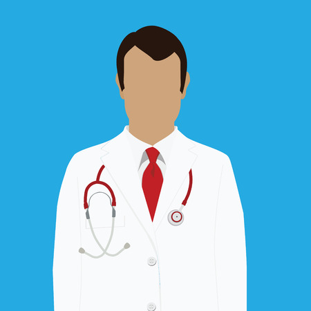 red tie: Vector illustration professional doctor in white medical uniform with red tie and with stethoscope Illustration