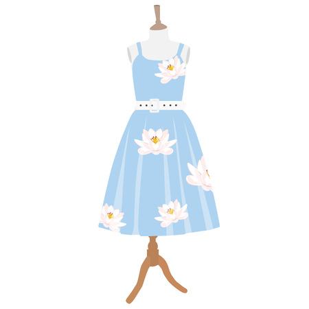 Ilustracji wektorowych niebieska sukienka z lilii wodnej szwu na manekinie Ilustracje wektorowe