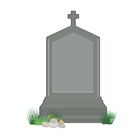 gravestone: Vector illustration grey gravestone with cross on green grass. Flat tombstone icon