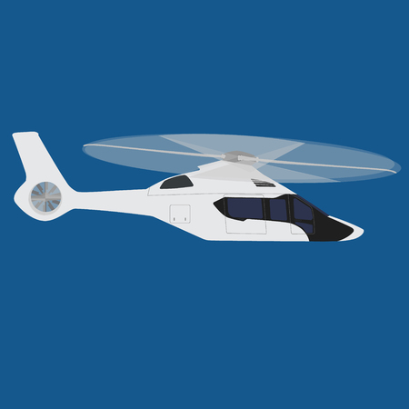 transposition: Vector illustration white, luxury, realistic helicopter flying in the blue sky