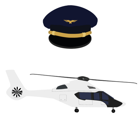 aircrew: Vector illustration white, luxury realistic helicopter and blue pilot cap with badge
