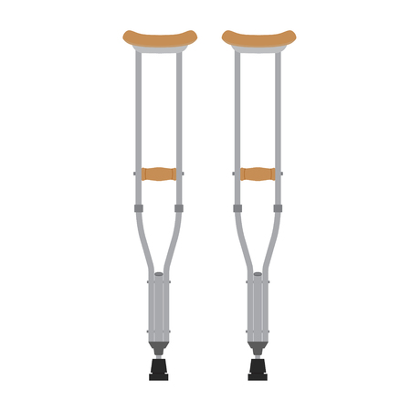 wooden leg: Crutches icon. Vector illustration of pair wooden crutches or medical walking sticks for rehabilitation of broken leg. Illustration