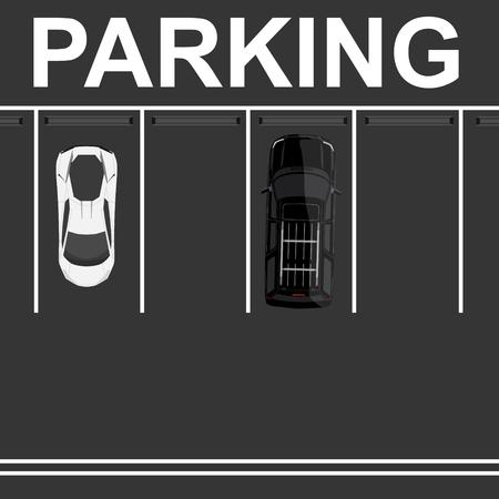 Vector illustration top view parking lot concept. Black car top view. Generic car. Sport car