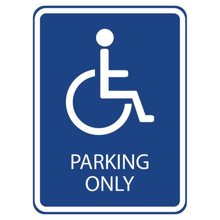 handicap sign: Vector illustration blue handicap car parking or wheelchair parking space sign.