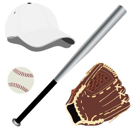 guante de beisbol: gorra de b�isbol, gorra de b�isbol, bate de b�isbol, guante de b�isbol Foto de archivo