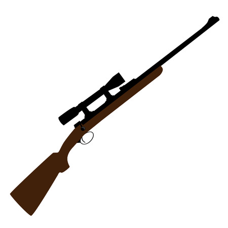 vintage rifle: Old hunting rifle with sight raster, sniper rifle, shotgun shooting, military weapon Stock Photo