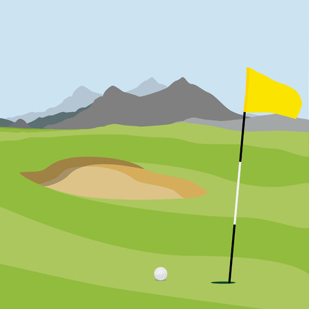 golf field: raster illustration of golf field, ball and flag with mountain landscape. Golf course. Stock Photo