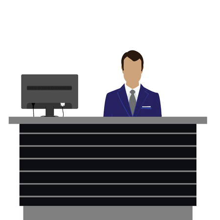 standing reception: raster illustration happy male receptionist standing at hotel. Professional concierge at hotel reception desk