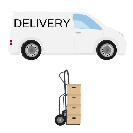 hand truck: Delivery icon set. White delivery van and hand truck with four carton boxes. Express delivery.
