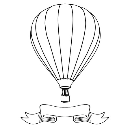 Hot air balloon in the sky with message on banner raster illustration. Hot air balloon outline drawings