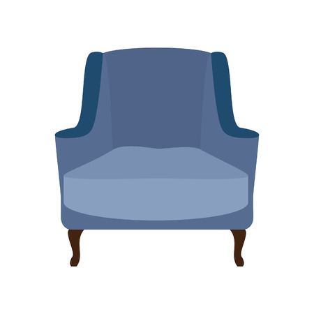 armchair: Blue vintage armchair raster illustration. Armchair isolated. Modern armchair