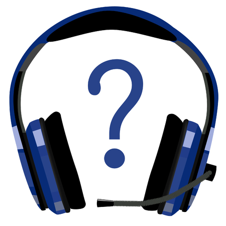 head phones: Blue headphones with microphone, support icon, customer support, computer support, call center icon raster isolated