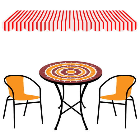 outdoor dining: Striped red and white shop window awning and vintage outdoor table and chairs.Round table and chairs raster