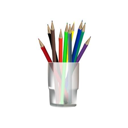 Kleurpotloden, potloden in glas, potloden raster