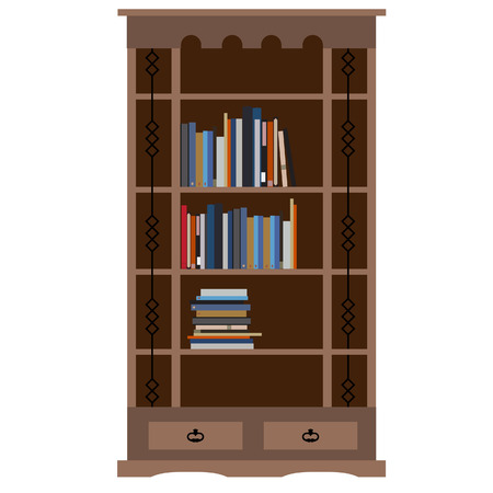 book racks: Wooden bookcase with books on shelf raster illustration. Home library, bookstore. Learning and knowledge Stock Photo