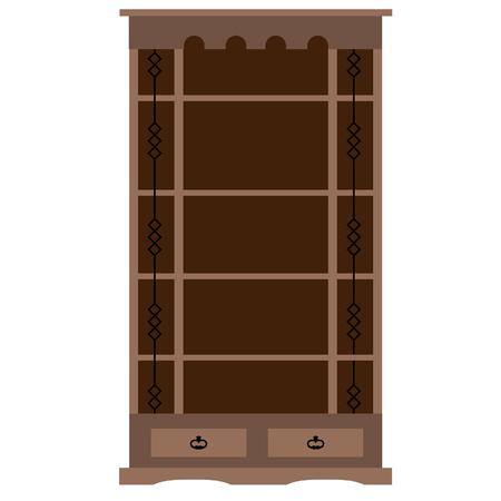 bookcase: Wooden empty bookcase raster illustration. Home library, bookstore. Learning and knowledge