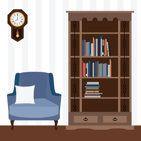 white pillow: Reading room with blue armchair and white pillow, bookcase with books raster illustration. I love reading. Study room.