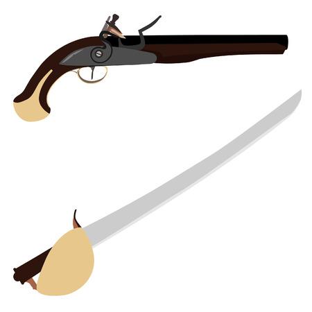 flintlock pistol: Weapon set vintage flintlock musket gun and medieval sword cutlass Stock Photo