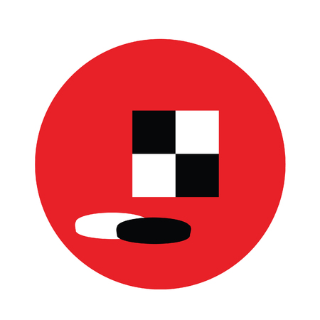 checkerboard: Checkers game checkers board and pieces flat icon raster