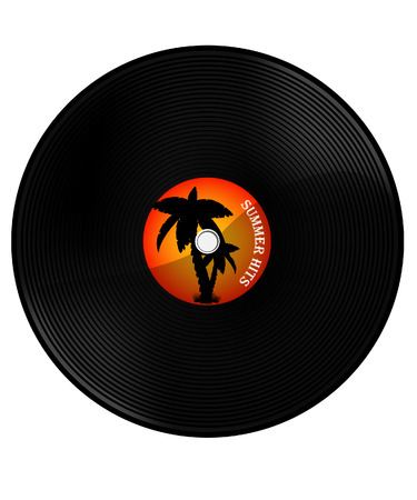 hits: Vintage vinyl record with text summer hits. Orange sunset and palm tree silhouette. Summer music party