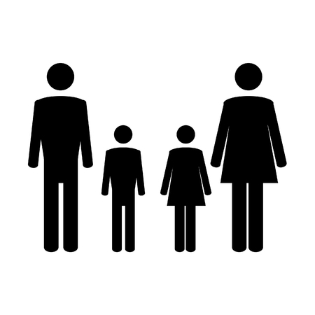 father daughter: Family symbol mother, father, daughter and son raster illustration. Family icon. Family concept Stock Photo