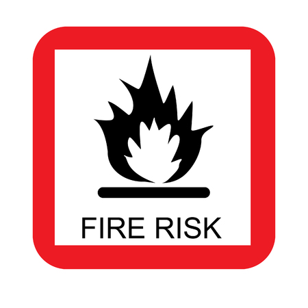 Fire risk sign raster icon isolated, red and white, square sign, warning sign Stock Photo