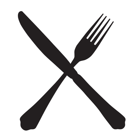 dinning table: Black silhouette of crossed fork and knife icon raster isolated.