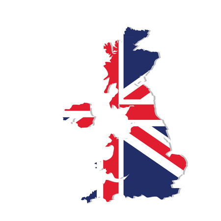 uk map: raster illustration uk map with flag. England map. United Kingdom of Great Britain. Uk map counties Stock Photo