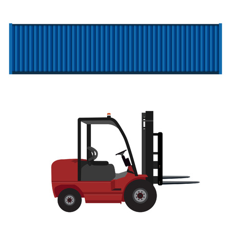car loader: Loader car for carton box delivering and  blue cargo container raster illustration. Delivery service. Delivery icon set