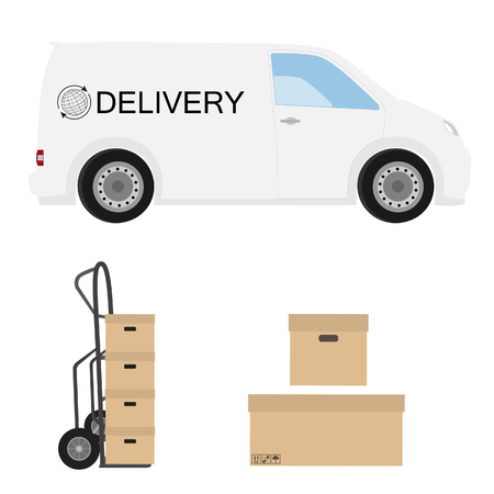 hand truck: Delivery icon set. White delivery van, hand truck and carton boxes. Express delivery. Stock Photo