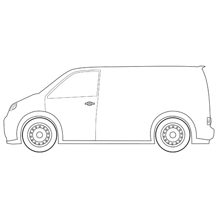 delivery car: Outline drawings delivery car raster icon, delivery truck, delivery service