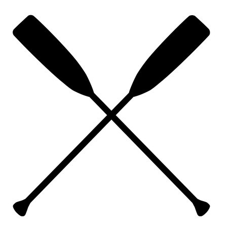 water sport: Two black silhouette of crossed oars raster isolated. Rowing oars. Plastic oars. Water sport