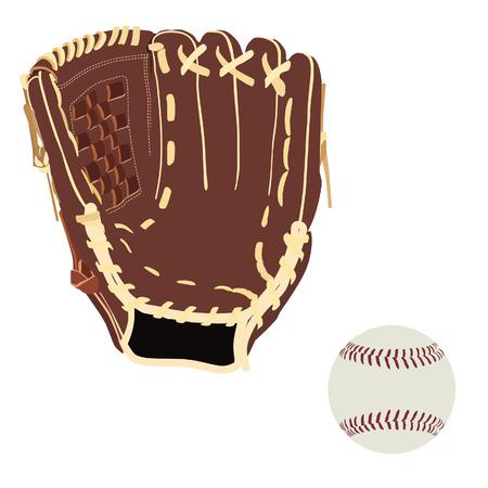 sport equipment: Baseball glove and ball, isolated on white, raster, handglove, sport equipment