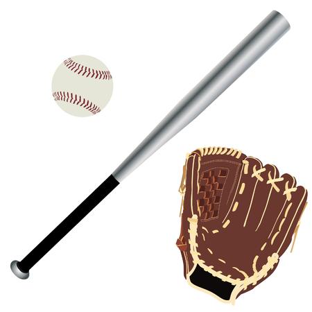 guante de beisbol: guante de b�isbol, bate de b�isbol, bola del b�isbol, equipo de deporte