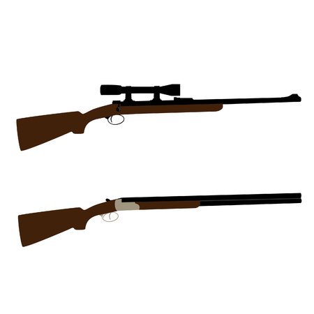 hunting rifle: Old hunting rifle and shooting shotgun raster set isolated, military weapon